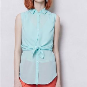Maeve Blue Faded Cyan Blouse Anthropologie 4